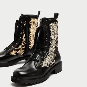 Zara Gold Black Sequined Leather Combat Boots 35